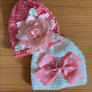 Toby & Me Baby Girl stretch elastic woven beanies